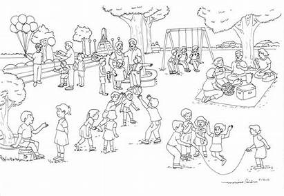 Park Drawing Clipart Playground Coloring Pages Scene