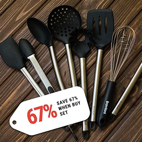 utensils kitchen cooking utensil silicone steel stainless pans serving pots tongs tools spoon piece kit spatula strainer whisk nonstick pasta