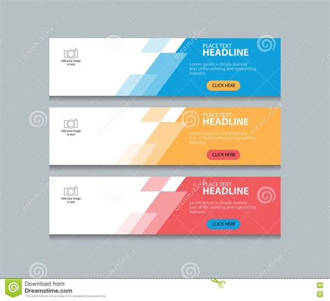 Three Color Web Banner Design Template Background Set