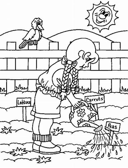 Coloring Pages Gardening Spring Garden Flower Printable