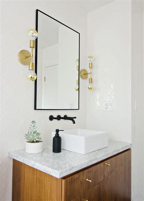 Black, White & Walnut Bathroom With Black Faucet & Brass