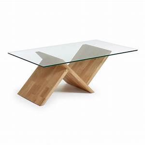 Table Plateau Verre Pied Bois : table basse waley table basse table basse pied table bois et table ~ Melissatoandfro.com Idées de Décoration
