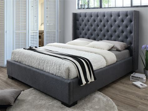 lit massimo tete de lit capitonnee xcm tissu gris
