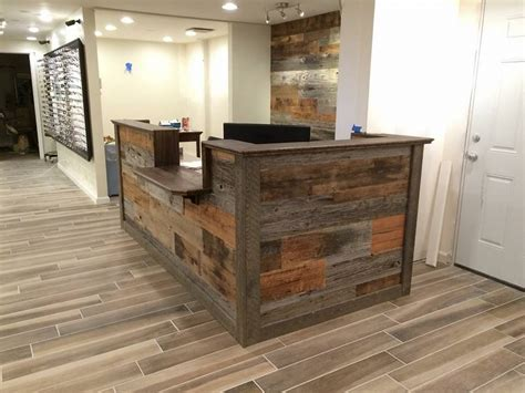hand  custom barn wood reception desk  defiance