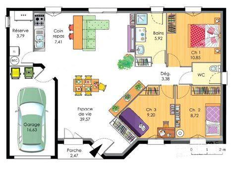 plan maison 3 chambres architectures plans de maisons plain pied plan de la