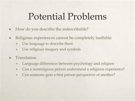 Potential Problems by Ppt William And Psychology Of Religion Powerpoint