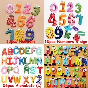 Wooden a z letter alphabet number 0 9 fridge magnet for Magnetic letters for babies