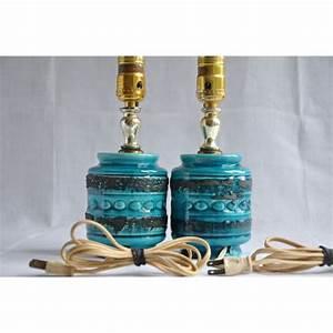 Lampe De Chevet Vintage : paire de lampes de chevet vintage en c ramique bleue et noire ~ Melissatoandfro.com Idées de Décoration