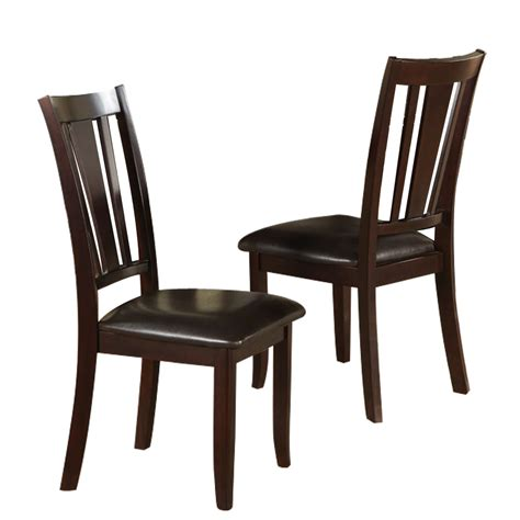 set of 2 dining side chair faux leather seat cushion