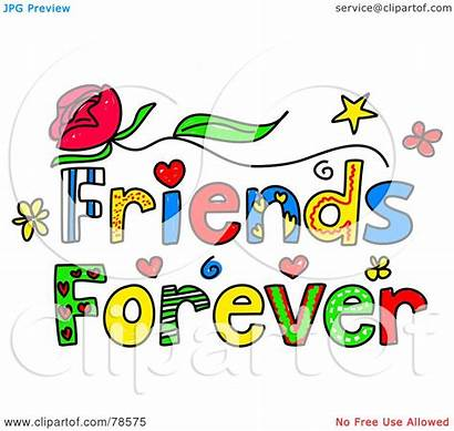Friends Words Forever Clipart Colorful Royalty Illustration