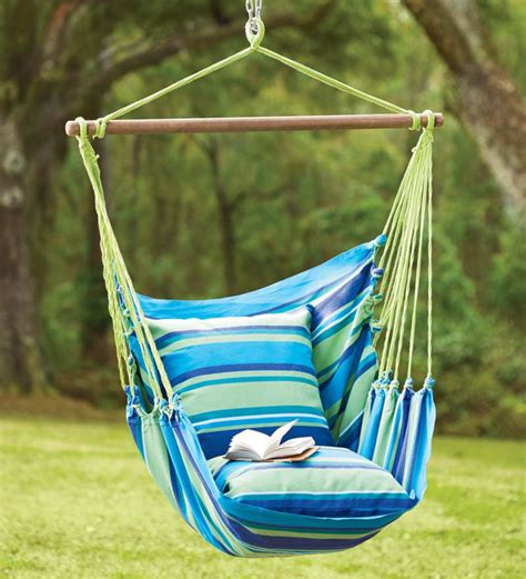 Cotton Hammock Chair by Blue Striped Cotton Hammock Chair Swing Plowhearth