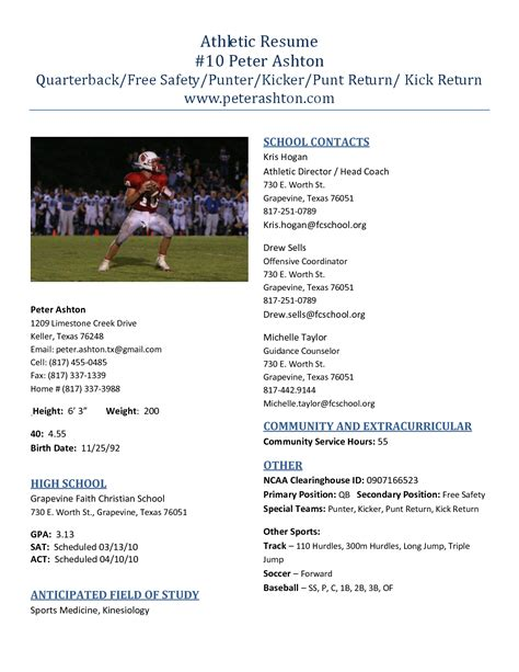 High School Resume Profile by Best Photos Of High School Football Profile Templates College Athletic Resume Template