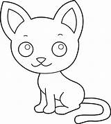 Cat Kitty Cute Clipart Coloring Pages Kitten Line Clip Kittens Cartoon Pink Cliparts Simple Sleeping Face Nose Pencil Library Clipartbest sketch template