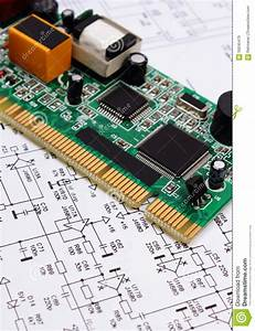 Printed Circuit Board Lying On Diagram Of Electronics  Technology Stock Image