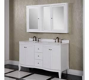 Accos 60 inch white double bathroom vanity cabinet with for 50 inch double sink bathroom vanity