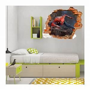 Trompe L Oeil Mur : sticker trompe l 39 oeil 3d mur d chir spiderman ~ Dode.kayakingforconservation.com Idées de Décoration