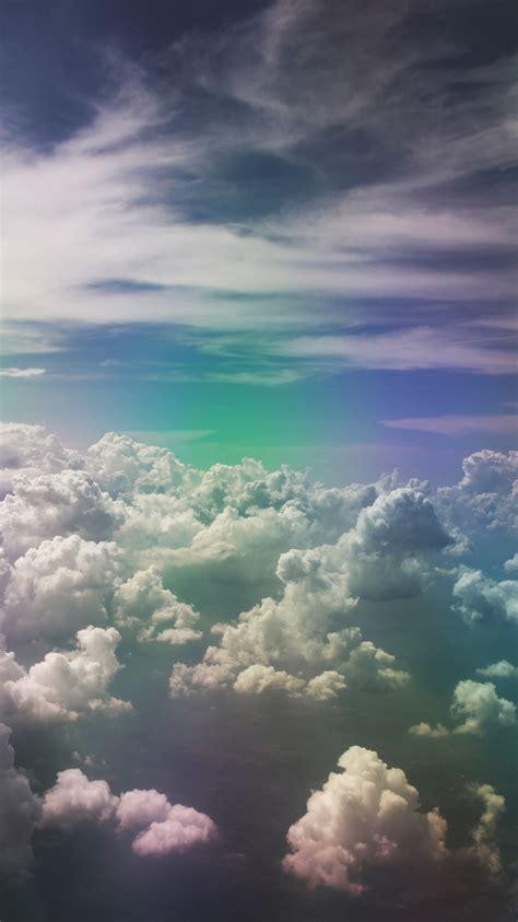 Download wallpaper 2912x5184 clouds, sky, porous, rainbow ...
