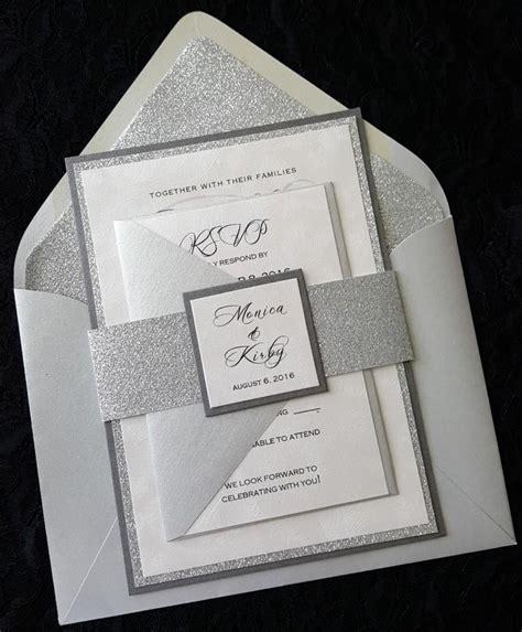 glitter wedding invitation silver glitter wedding