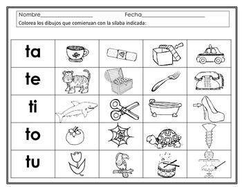 las silabas papepipopu en espaol preescolar material para s 237 labas con la letra t ta te ti to