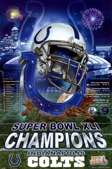 Xli Super Bowl Champions Indianapolis Colts Posters At