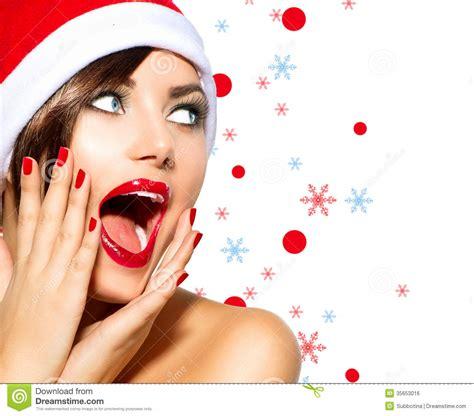 christmas woman stock photo image of nail model