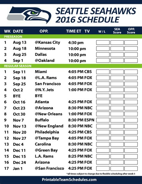 seattle seahawks football schedule print schedule