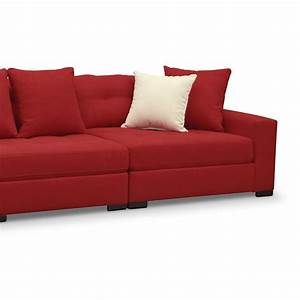 Venti 3 piece sectional red value city furniture for Red sectional sofa value city