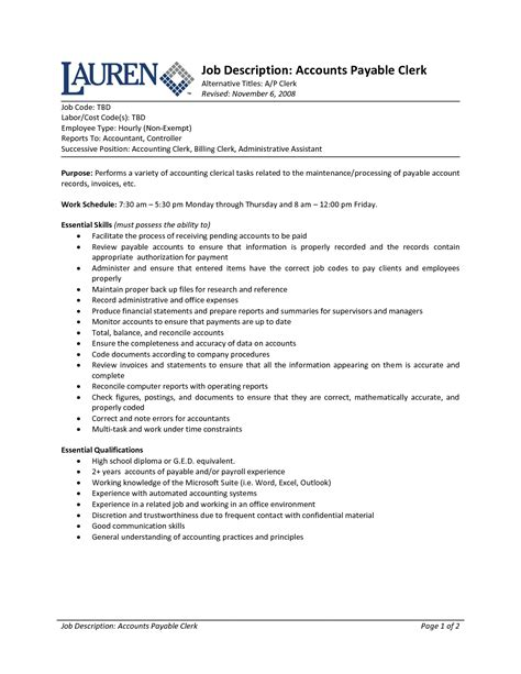 Resume My Duties by Accounting Clerk Duties Resume Description