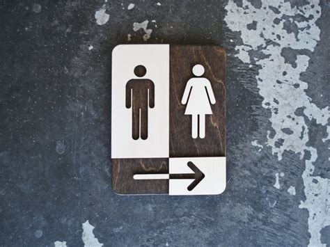 unisex restroom sign  arrow unique bathroom decor