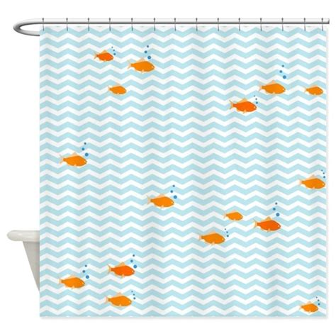blue chevron and gold fish shower curtain by inspirationzstore