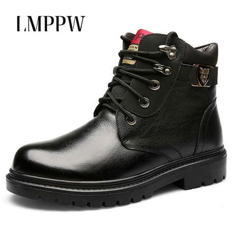 Genuine Leather Handmade Men Winter Snow Boots Wool Super