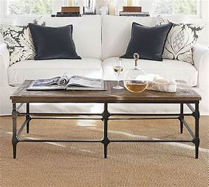 parquet reclaimed wood rectangular coffee table pottery barn With parquet reclaimed wood coffee table