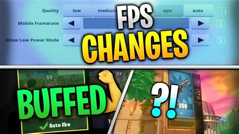 fortnite mobile news autofire buffed fps adjustments