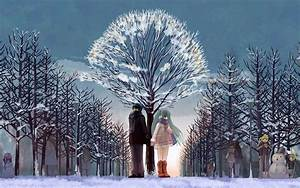 Snow sky ice tree couple anime love forest wallpaper ...
