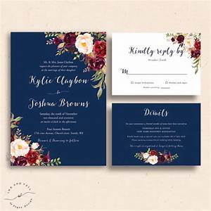 navy floral wedding invitations navy wedding invite With wedding invitations templates maroon