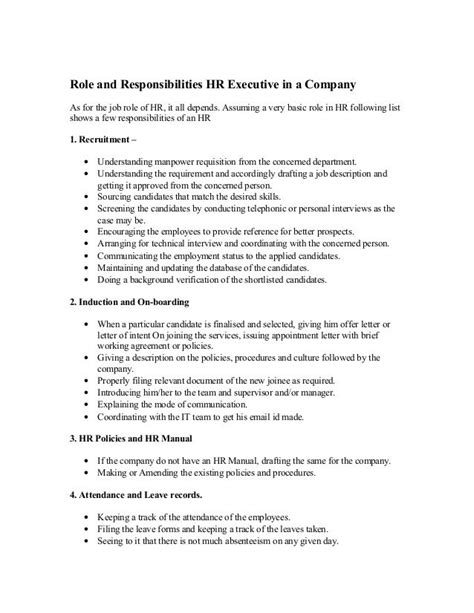 role  responsibilities hr executive   company