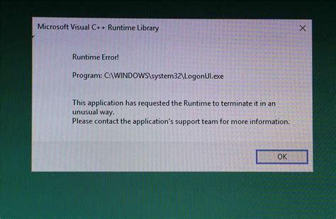 logonui exe application error microsoft community