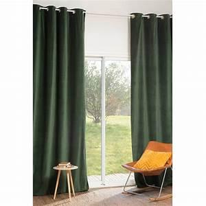 Rideaux En Velours : rideau illets en velours vert 140 x 300 cm for t maisons du monde ~ Teatrodelosmanantiales.com Idées de Décoration