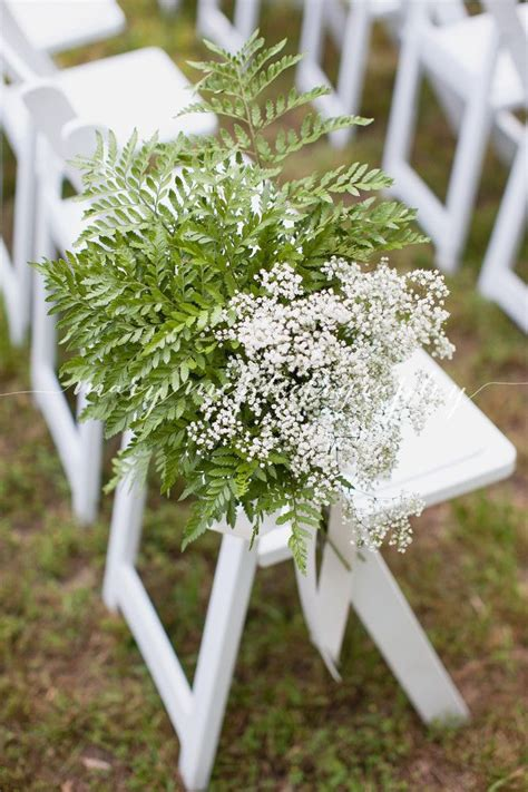 Aisle Decor Of Leather Leaf Fern And Babys Breath By