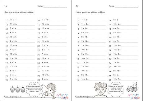addition within 20 practice worksheets 1