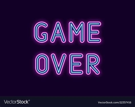 neon inscription  game  royalty  vector image