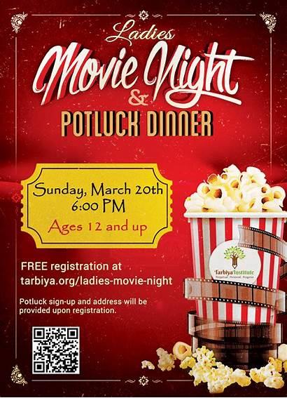 Night Movie Ladies Flyer Date Dinner Potluck