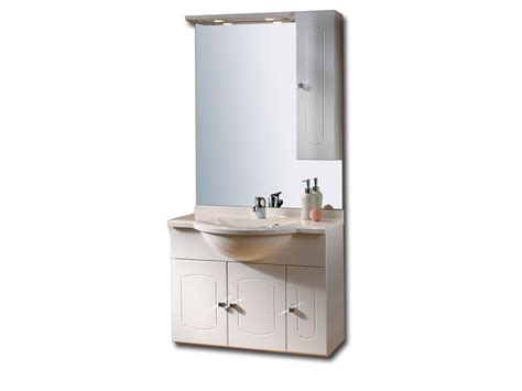 bloc de salle de bain 85 cm plan vasque miroir et luminaire coloris blanc brillant