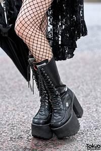 harajuku in black lace mini dress platform