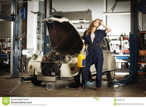 a washing a car in a garage stock image image of
