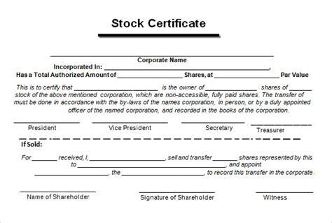 sample stock certificate templates   sample