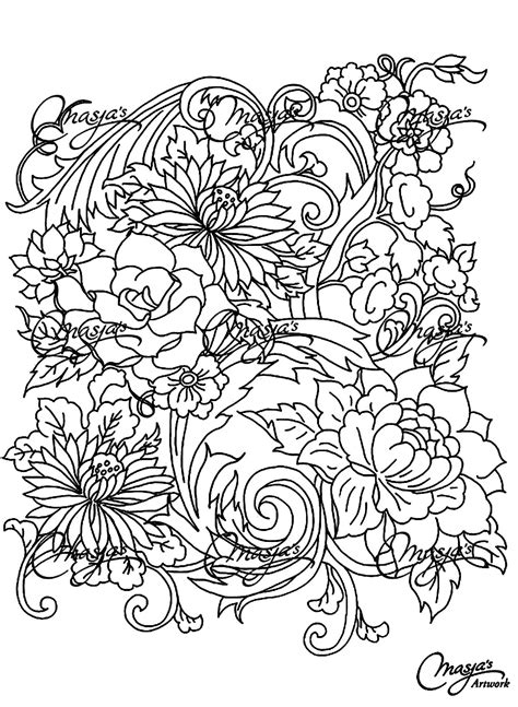 Drawing flower Flowers Adult Coloring Pages Page 4
