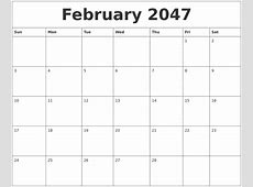 February 2047 Birthday Calendar Template