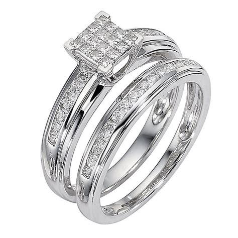 9ct white gold half carat cluster bridal ring ernest jones