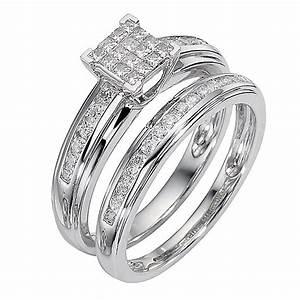 9ct white gold half carat diamond cluster bridal ring set for Ernest jones wedding ring sets